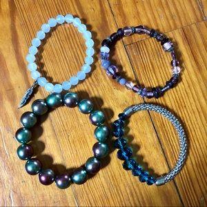 Set of 4 Beaded Stretch Bracelets